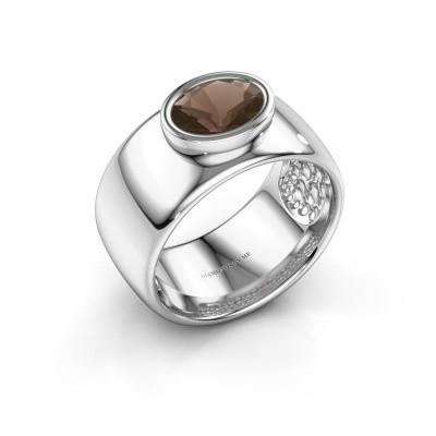 Foto van Ring Anouschka 925 zilver rookkwarts 8x6 mm