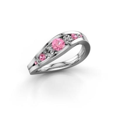 Foto van Ring Sigrid 2 585 witgoud roze saffier 4 mm
