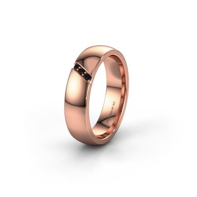 Trouwring WH0174L25BP 375 rosé goud zwarte diamant ±5x2 mm