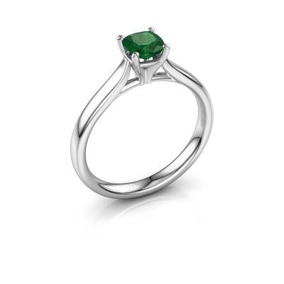 Verlovingsring Mignon cus 1 950 platina smaragd 5 mm