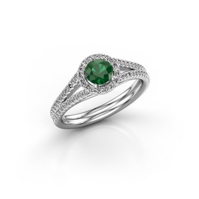 Engagement ring Verla rnd 2 950 platinum emerald 4.7 mm