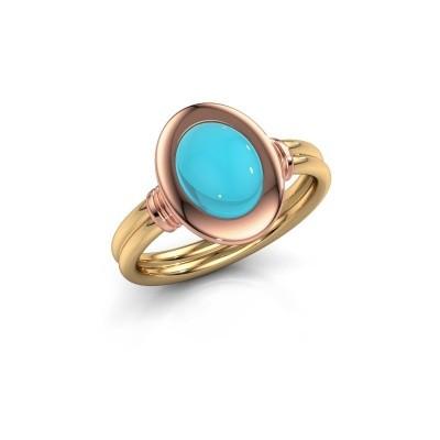 Foto van Ring Brittni 585 goud blauw topaas 9x7 mm