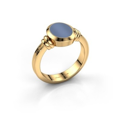 Pinky ring Jake 1 585 gold light blue sardonyx 10x8 mm