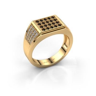 Men's ring Tim 375 gold black diamond 0.714 crt