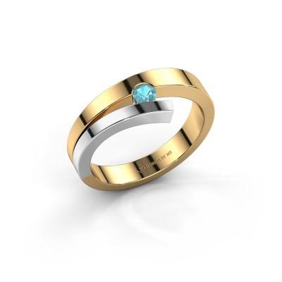 Foto van Ring Rosario 585 goud blauw topaas 3 mm