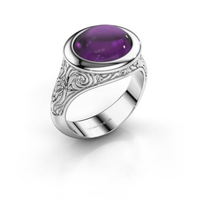 Ring Natacha 375 witgoud amethist 12x10 mm