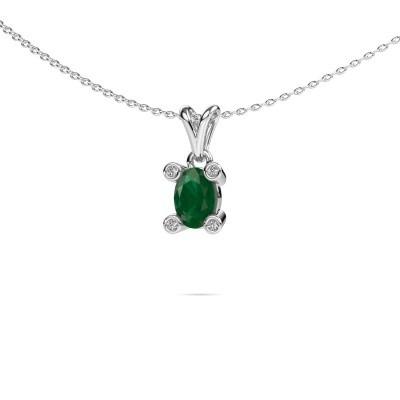 Foto van Ketting Cornelia Oval 375 witgoud smaragd 7x5 mm