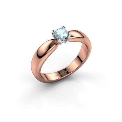 Promise ring Katrijn 585 rose gold aquamarine 4.2 mm