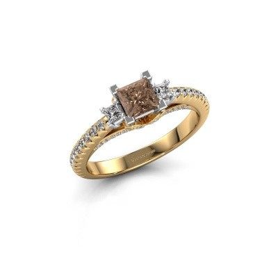 Verlovingsring Valentina 585 goud bruine diamant 0.88 crt