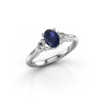 Picture of Engagement ring Laurian OVL 925 silver sapphire 7x5 mm