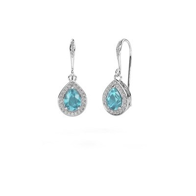 Picture of Drop earrings Beverlee 2 585 white gold blue topaz 7x5 mm