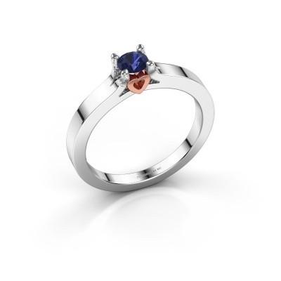 Foto van Belofte ring Eliz 585 witgoud saffier 4.2 mm