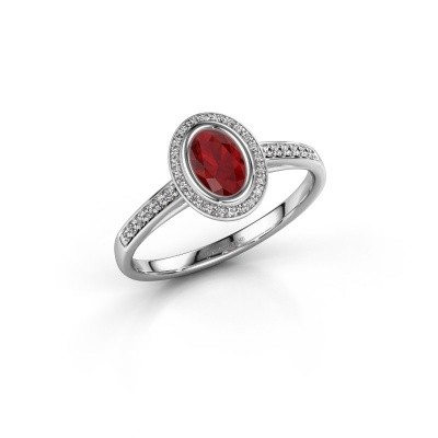 Engagement ring Noud 2 OVL 950 platinum ruby 6x4 mm