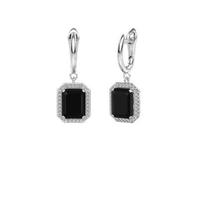 Drop earrings Dodie 1 585 white gold black diamond 3.00 crt