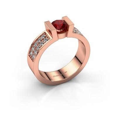 Verlovingsring Lieve 3 375 rosé goud robijn 5 mm