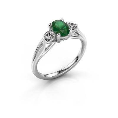 Foto van Verlovingsring Amie OVL 585 witgoud smaragd 7x5 mm