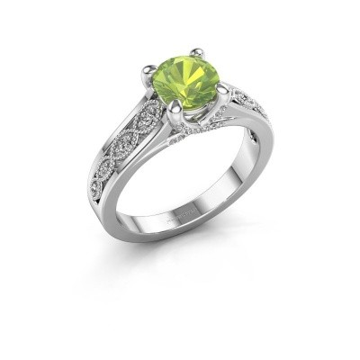 Engagement ring Clarine 925 silver peridot 6.5 mm