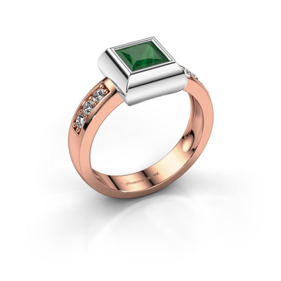 Ring Charlotte Square 585 rose gold emerald 5 mm