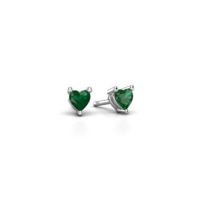 Foto van Oorstekers Garnet 585 witgoud smaragd 4 mm