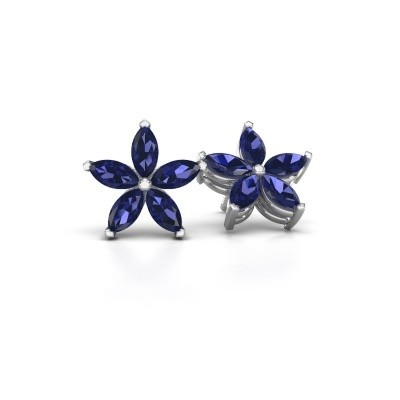 Picture of Stud earrings Sylvana 925 silver sapphire 5x2.5 mm