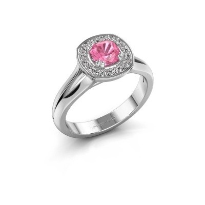 Foto van Ring Carolina 1 950 platina roze saffier 5 mm
