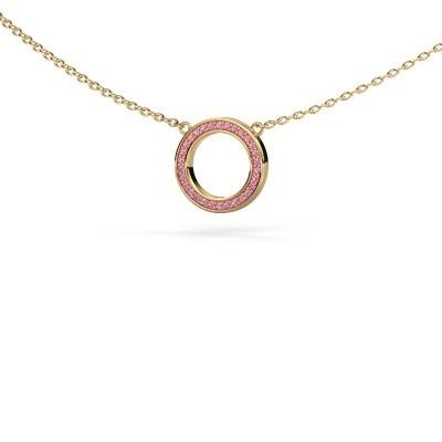 Hanger Round 1 585 goud roze saffier 0.8 mm