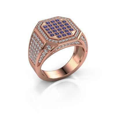 Heren ring Bjorn 375 rosé goud saffier 1.5 mm