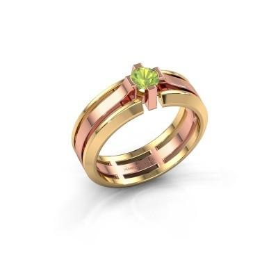 Foto van Heren ring Sem 585 rosé goud peridoot 4.7 mm