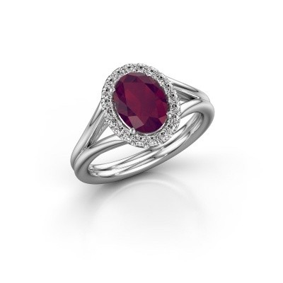 Engagement ring Rachele 1 925 silver rhodolite 8x6 mm