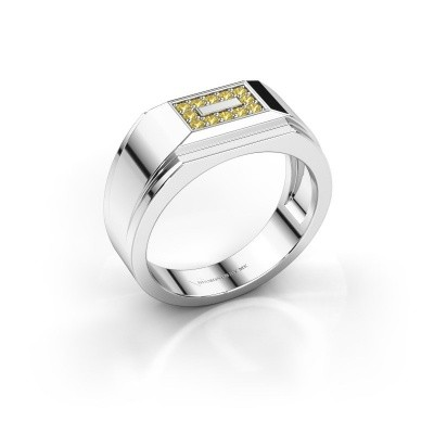 Men's ring Roan 585 white gold yellow sapphire 1.5 mm