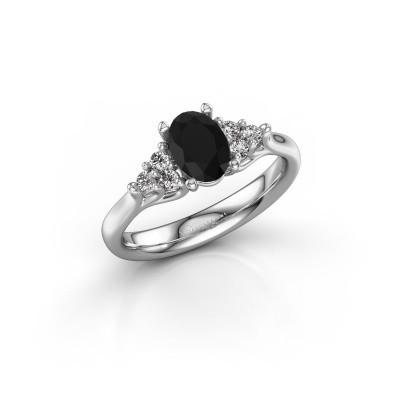 Foto van Verlovingsring Monika OVL 585 witgoud zwarte diamant 1.110 crt
