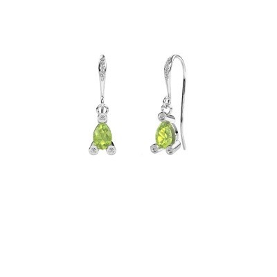 Picture of Drop earrings Bunny 2 375 white gold peridot 7x5 mm