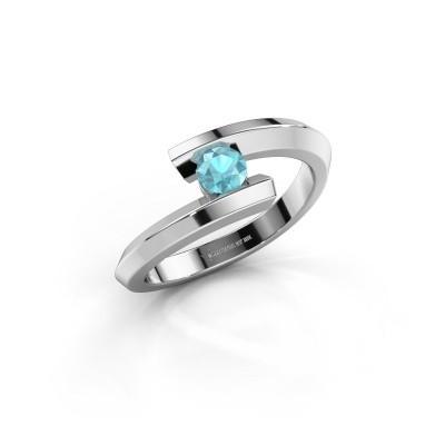 Ring Paulette 925 zilver blauw topaas 3.4 mm
