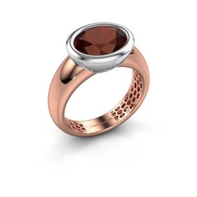 Ring Evelyne 585 rosé goud granaat 10x8 mm