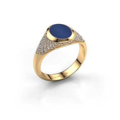 Pinkring Giovani 585 goud lapis lazuli 10x8 mm