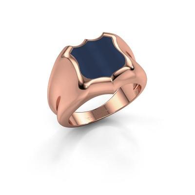 Zegelring Nevin 375 rosé goud donker blauw lagensteen 12x12 mm