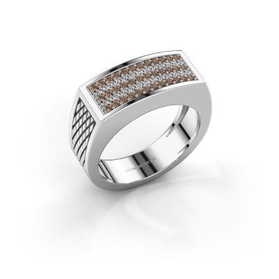 Heren ring Erwin 925 zilver bruine diamant 0.435 crt