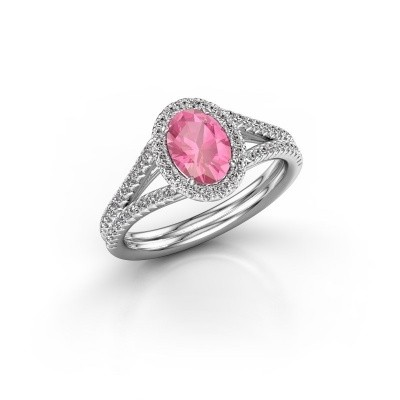 Engagement ring Rachele 2 925 silver pink sapphire 7x5 mm