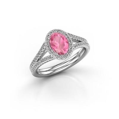 Verlobungsring Rachele 2 925 Silber Pink Saphir 7x5 mm