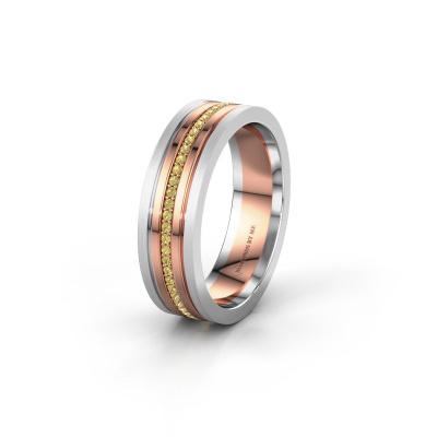 Trouwring WH0404L16A 585 rosé goud gele saffier ±6x1.7 mm