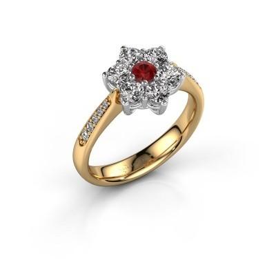 Verlovingsring Chantal 2 585 goud robijn 3 mm