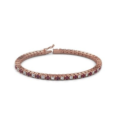 Tennis bracelet Petra 375 rose gold rhodolite 3 mm