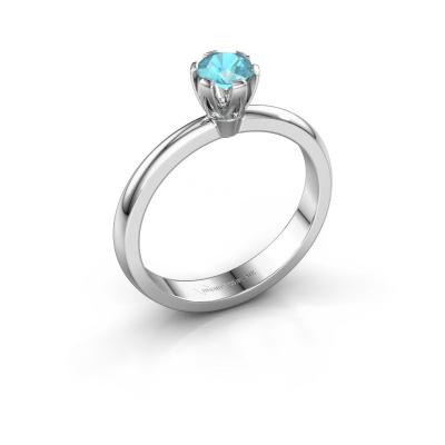Verlovingsring Julia 950 platina blauw topaas 4 mm