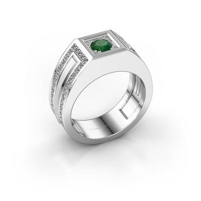Foto van Heren ring Lando 585 witgoud smaragd 4.7 mm
