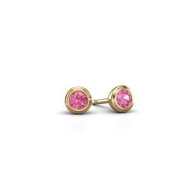Foto van Oorstekers Shemika 585 goud roze saffier 3.4 mm
