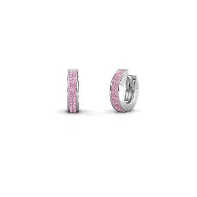 Foto van Creolen Renee 2 9 mm 585 witgoud roze saffier 1 mm