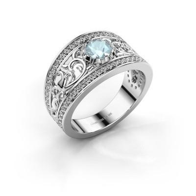 Ring Marilee 950 platina aquamarijn 5 mm