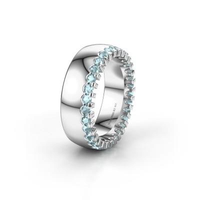 Wedding ring WH6120L27C 950 platinum aquamarine ±7x2.2 mm