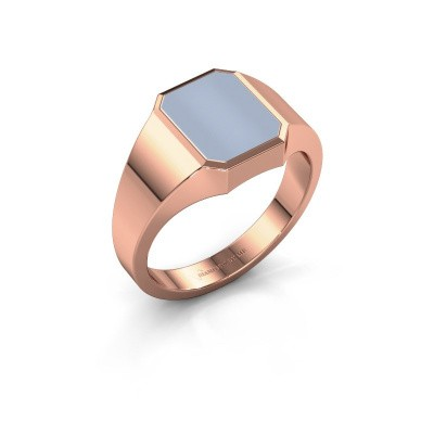 Signet ring Glenn 1 375 rose gold light blue sardonyx 10x8 mm