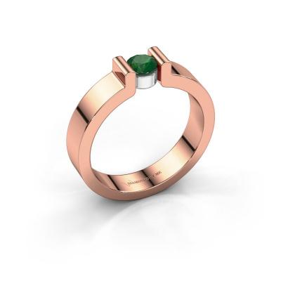 Verlovingsring Isabel 1 585 rosé goud smaragd 4 mm